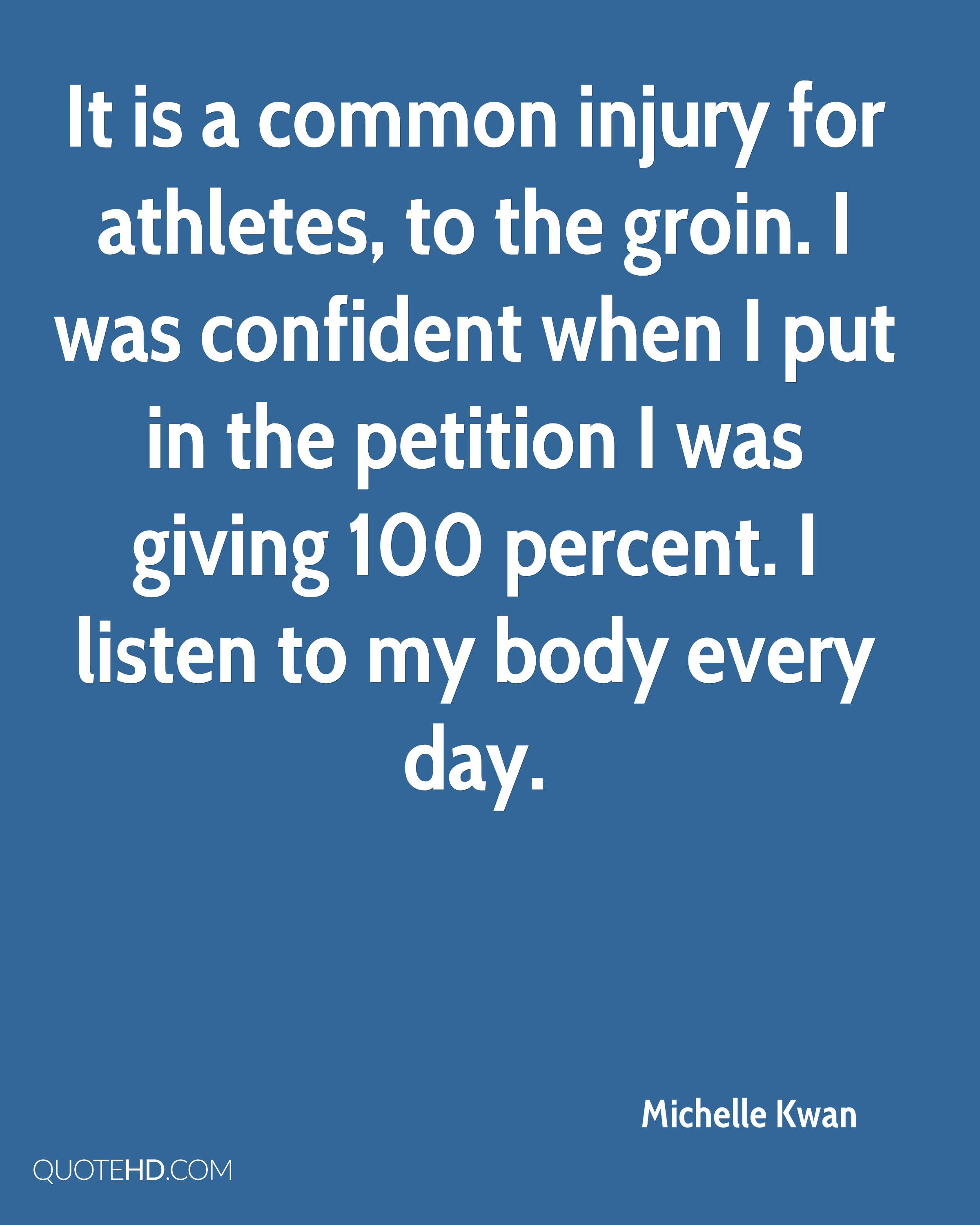 It is a common injury for athletes, to the groin. I was confident when I put in the petition I was giving 100 percent. I listen to my body every day.