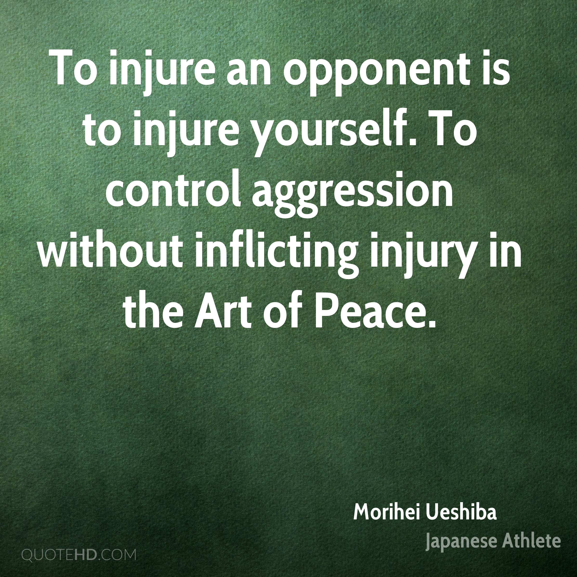 To injure an opponent is to injure yourself. To control aggression without inflicting injury in the Art of Peace.
