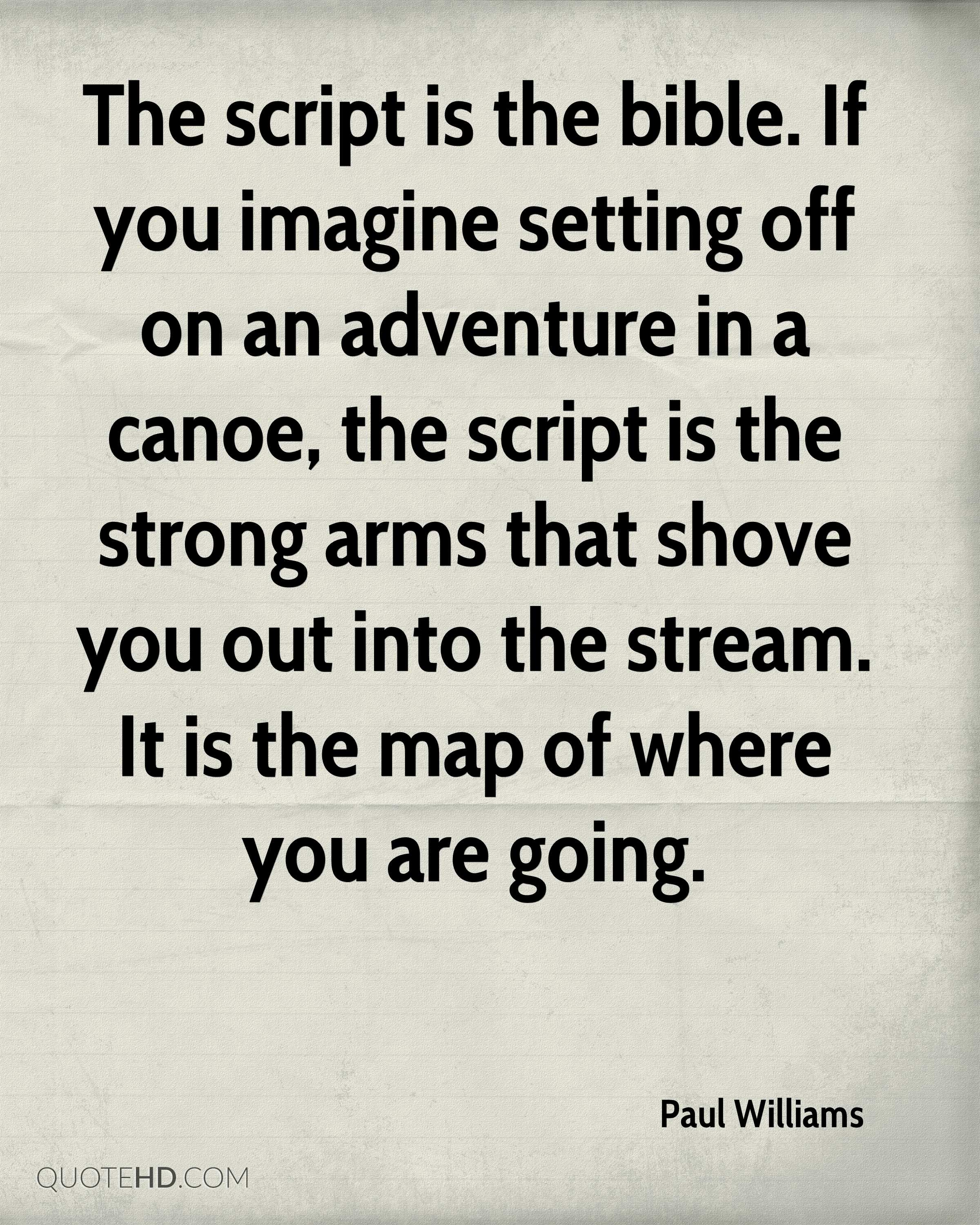The script is the bible. If you imagine setting off on an adventure in a canoe, the script is the strong arms that shove you out into the stream. It is the map of where you are going.