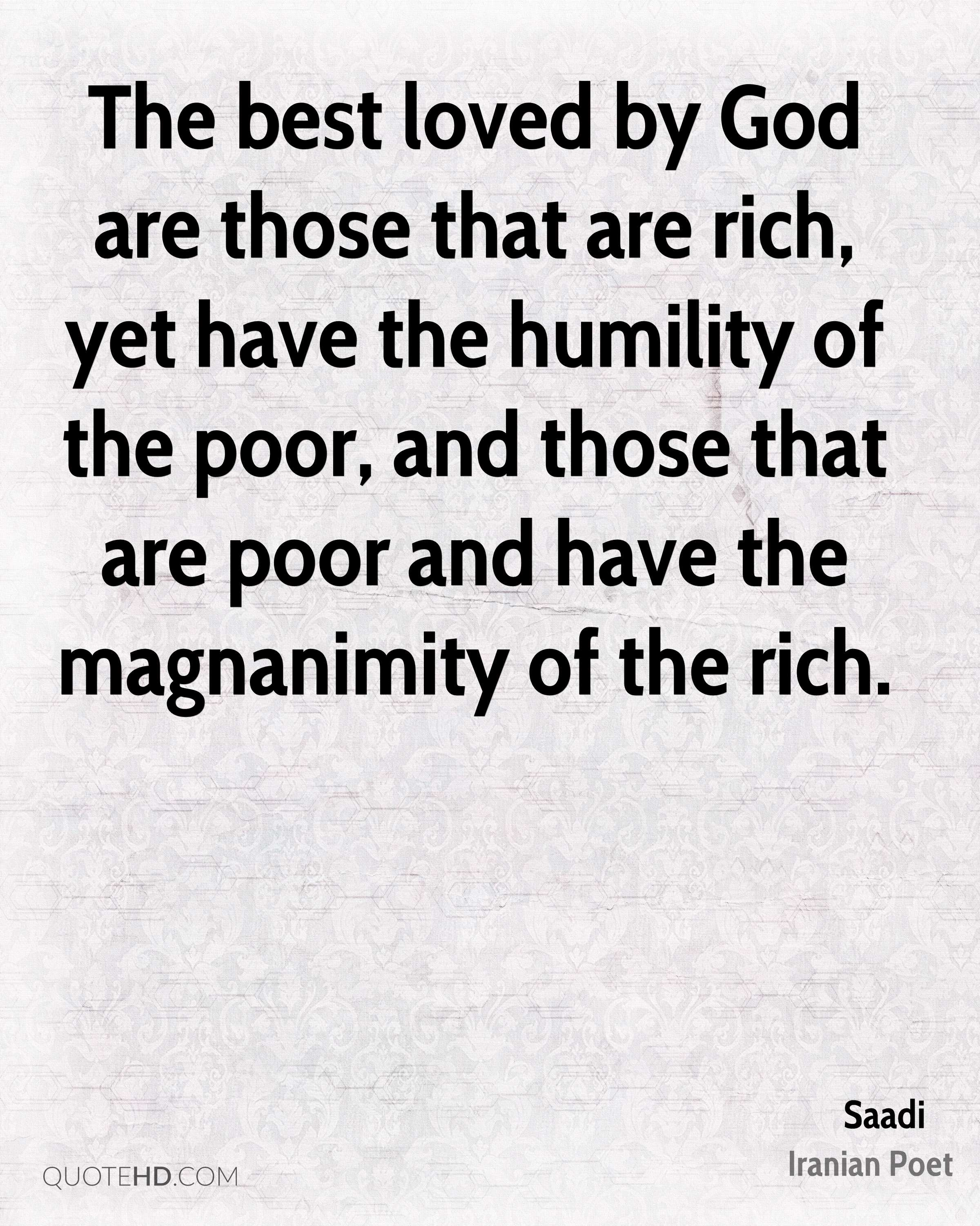 Quotes About The Rich And Poor: Saadi Quotes