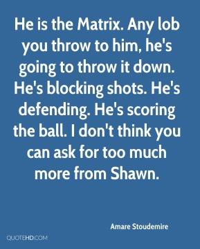 Amare Stoudemire - He is the Matrix. Any lob you throw to him, he's going to throw it down. He's blocking shots. He's defending. He's scoring the ball. I don't think you can ask for too much more from Shawn.
