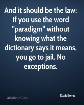 """David Jones - And it should be the law: If you use the word """"paradigm"""" without knowing what the dictionary says it means, you go to jail. No exceptions."""