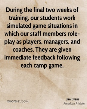 During the final two weeks of training, our students work simulated game situations in which our staff members role-play as players, managers, and coaches. They are given immediate feedback following each camp game.