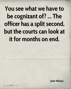 You see what we have to be cognizant of? ... The officer has a split second, but the courts can look at it for months on end.