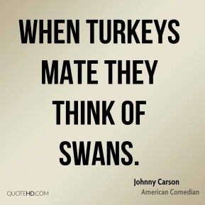 When turkeys mate they think of swans.