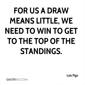 For us a draw means little, we need to win to get to the top of the standings.
