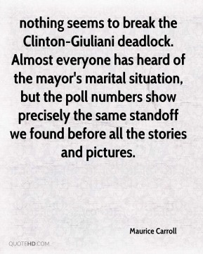 nothing seems to break the Clinton-Giuliani deadlock. Almost everyone has heard of the mayor's marital situation, but the poll numbers show precisely the same standoff we found before all the stories and pictures.