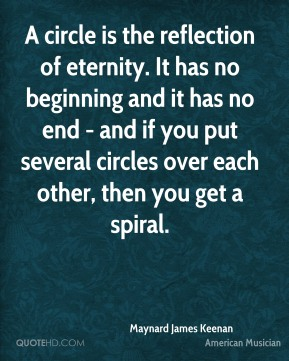 Maynard James Keenan - A circle is the reflection of eternity. It has no beginning and it has no end - and if you put several circles over each other, then you get a spiral.