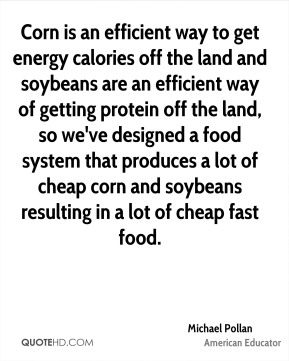 Michael Pollan - Corn is an efficient way to get energy calories off the land and soybeans are an efficient way of getting protein off the land, so we've designed a food system that produces a lot of cheap corn and soybeans resulting in a lot of cheap fast food.