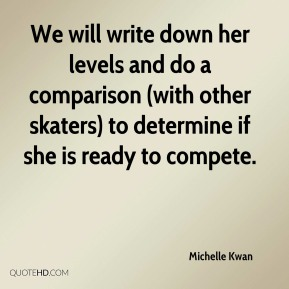 We will write down her levels and do a comparison (with other skaters) to determine if she is ready to compete.