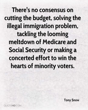 Tony Snow  - There's no consensus on cutting the budget, solving the illegal immigration problem, tackling the looming meltdown of Medicare and Social Security or making a concerted effort to win the hearts of minority voters.