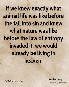 Walter Lang - If we knew exactly what animal life was like before the fall into sin and knew what nature was like before the law of entropy invaded it, we would already be living in heaven.