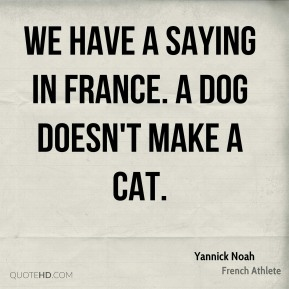 Yannick Noah - We have a saying in France. A dog doesn't make a cat.