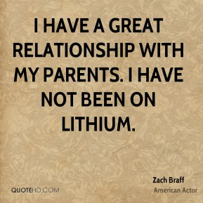 I have a great relationship with my parents. I have not been on lithium.