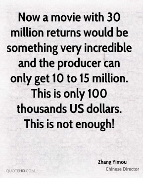 Now a movie with 30 million returns would be something very incredible and the producer can only get 10 to 15 million. This is only 100 thousands US dollars. This is not enough!
