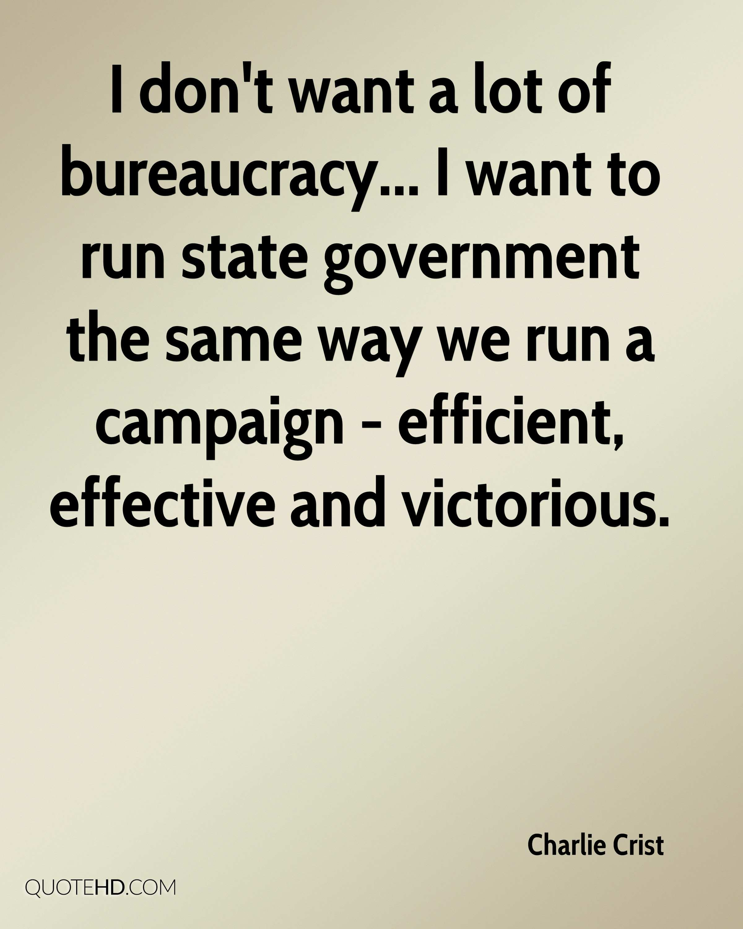 I don't want a lot of bureaucracy... I want to run state government the same way we run a campaign - efficient, effective and victorious.