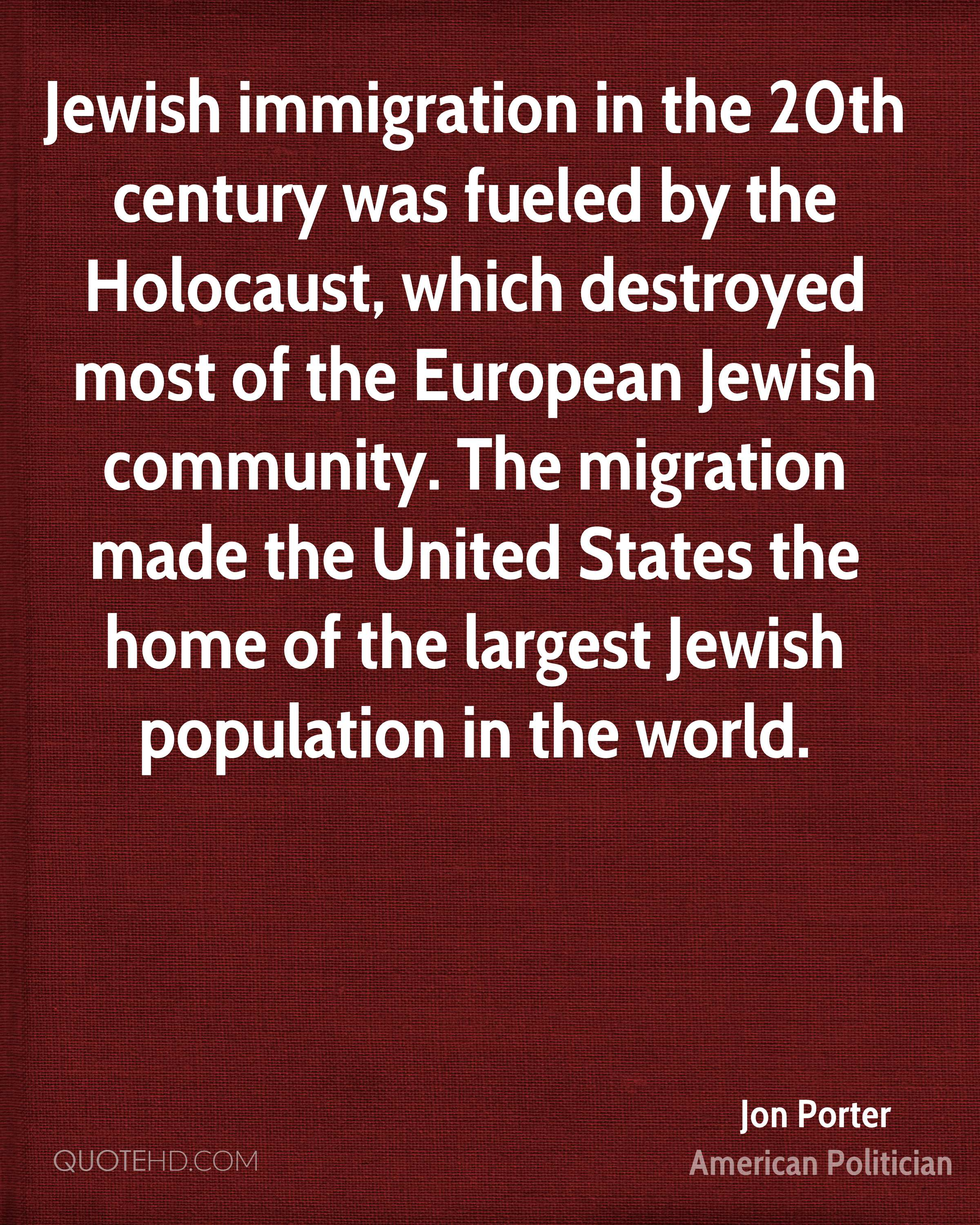 Jewish immigration in the 20th century was fueled by the Holocaust, which destroyed most of the European Jewish community. The migration made the United States the home of the largest Jewish population in the world.