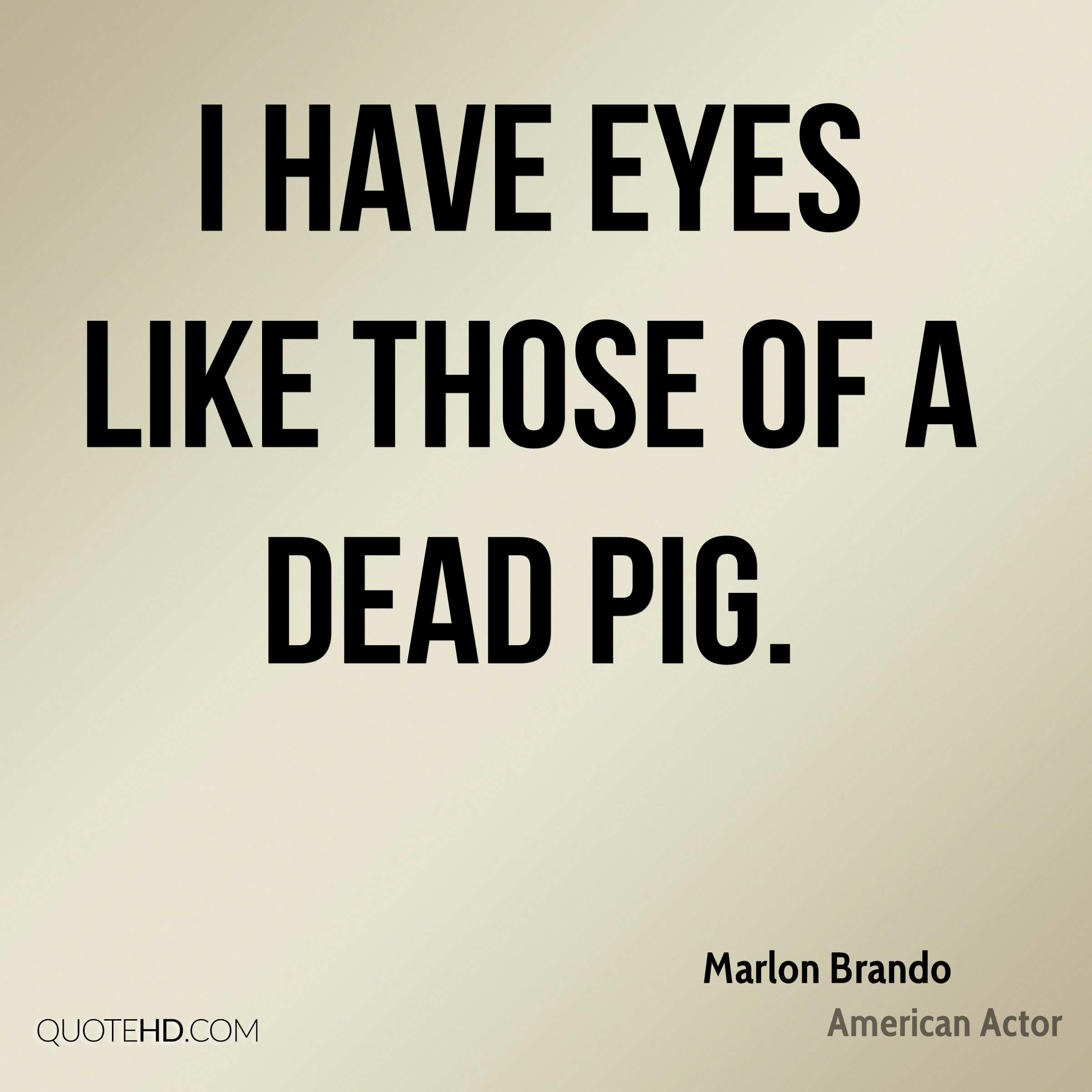 I have eyes like those of a dead pig.