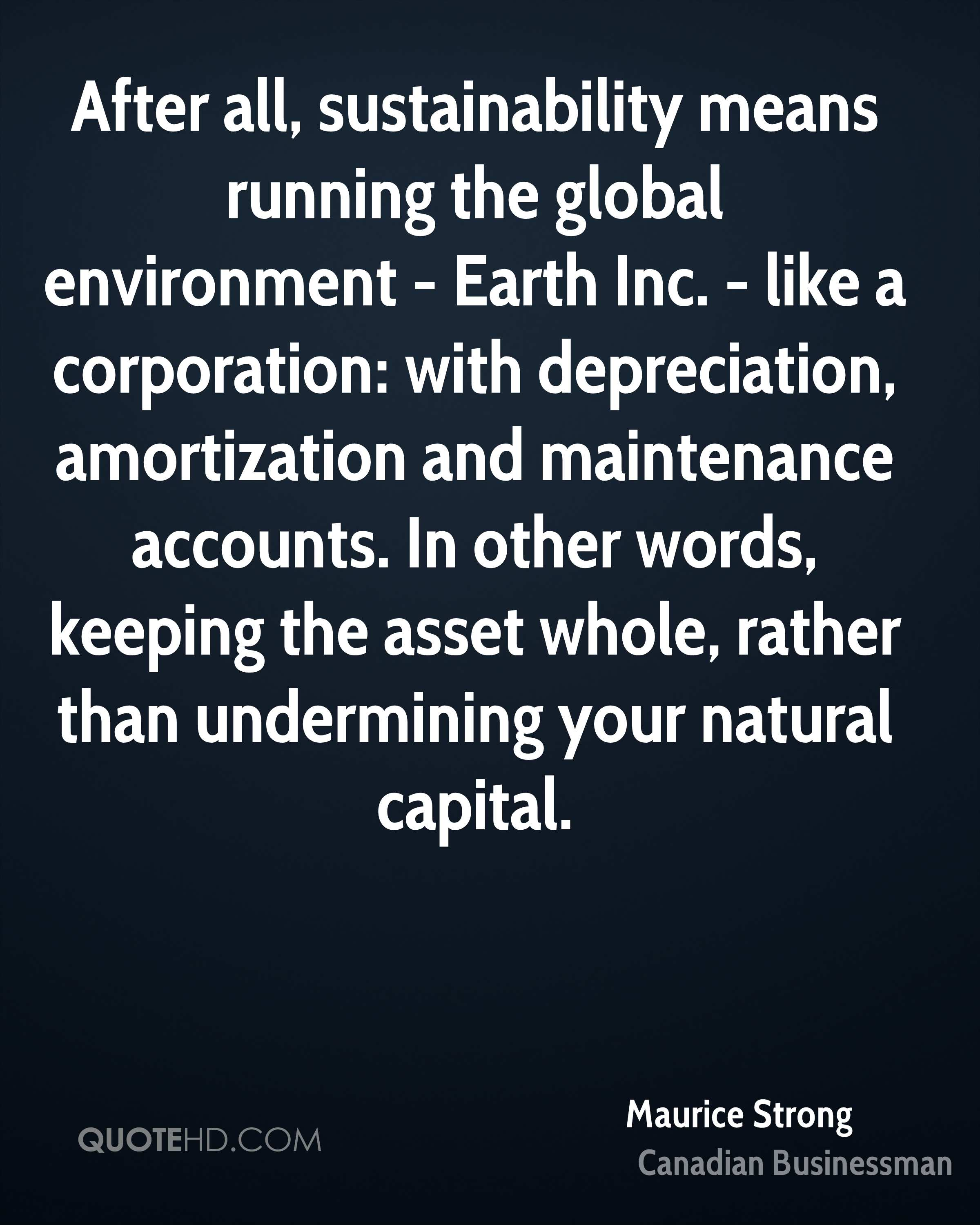 After all, sustainability means running the global environment - Earth Inc. - like a corporation: with depreciation, amortization and maintenance accounts. In other words, keeping the asset whole, rather than undermining your natural capital.