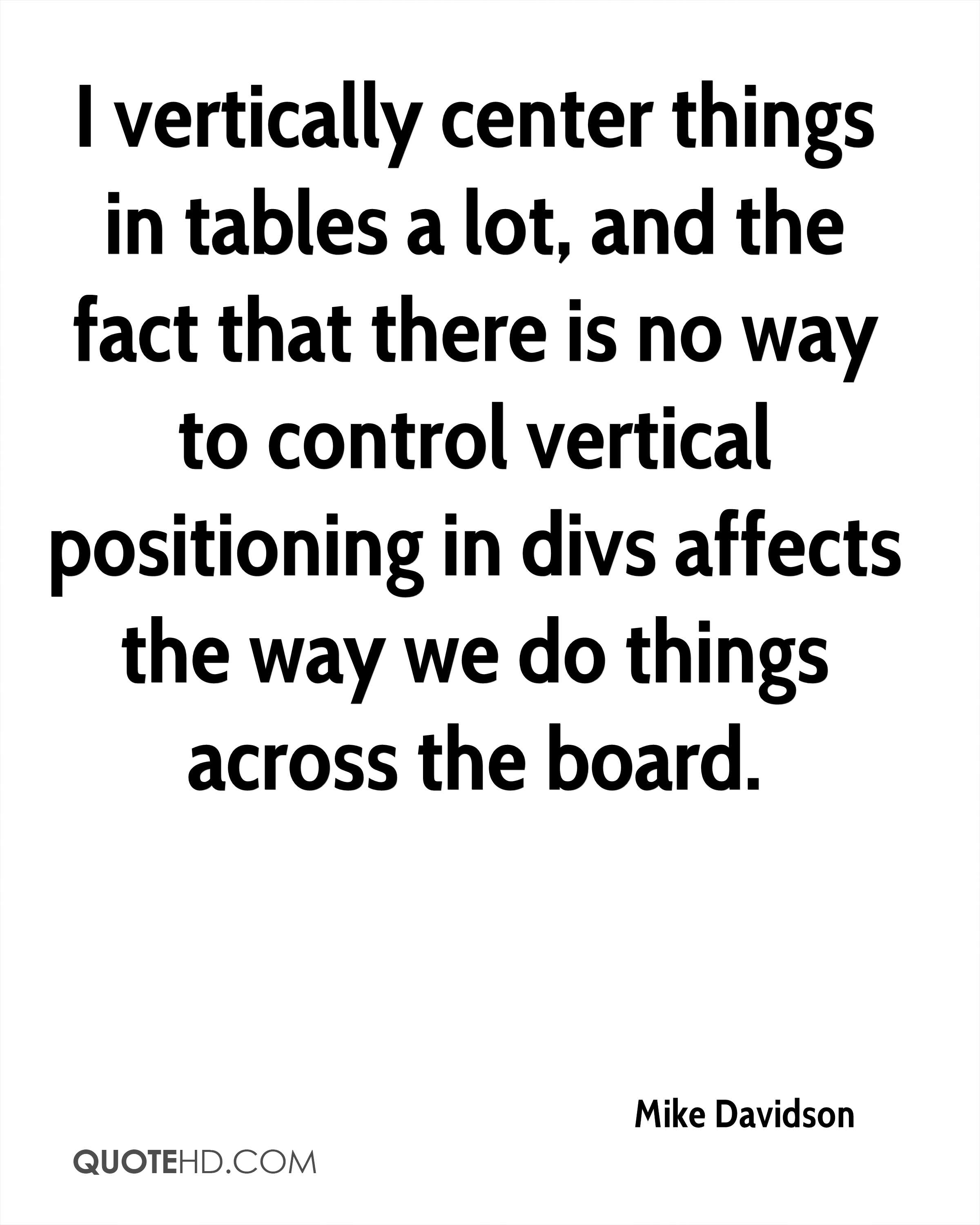 I vertically center things in tables a lot, and the fact that there is no way to control vertical positioning in divs affects the way we do things across the board.