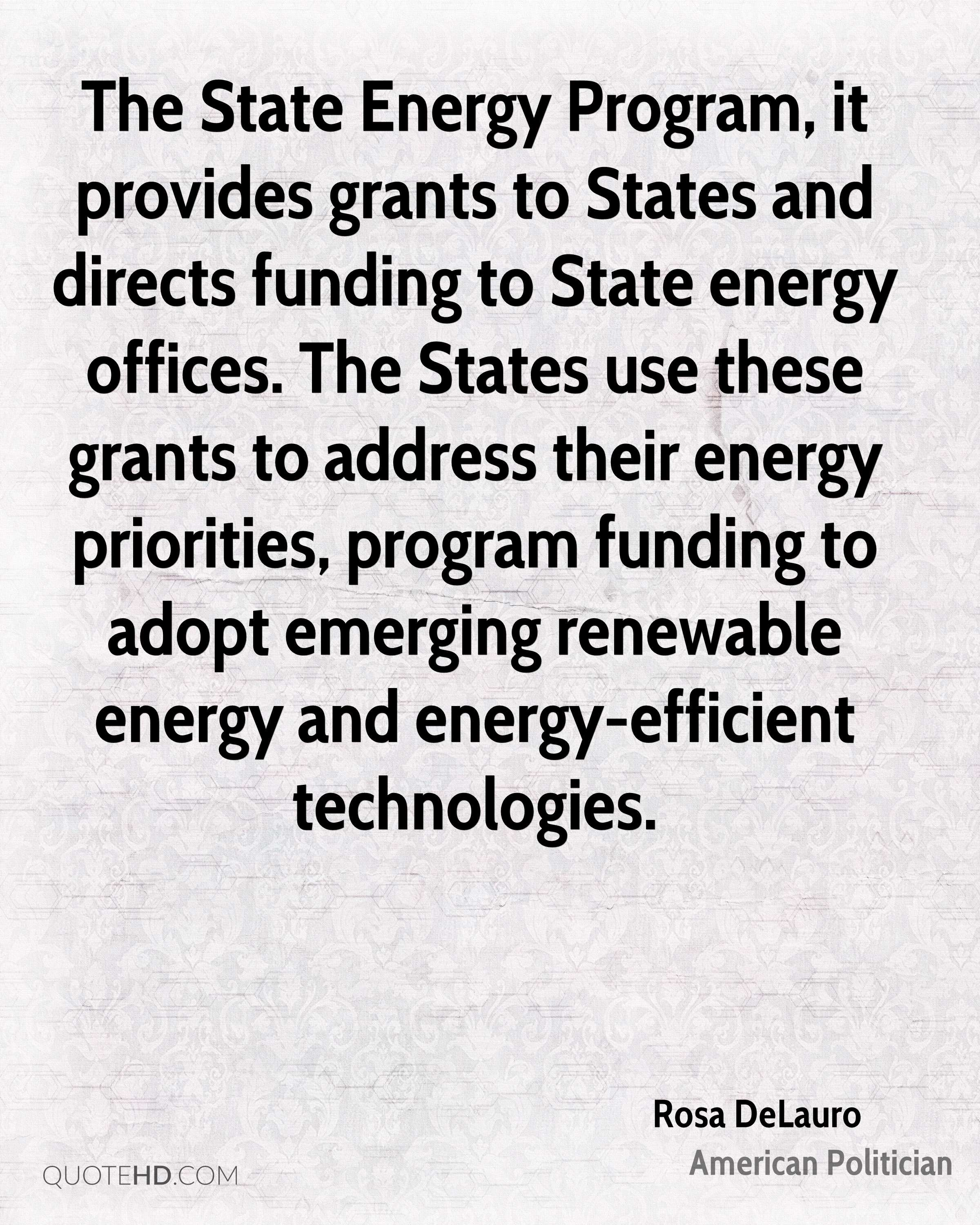 The State Energy Program, it provides grants to States and directs funding to State energy offices. The States use these grants to address their energy priorities, program funding to adopt emerging renewable energy and energy-efficient technologies.