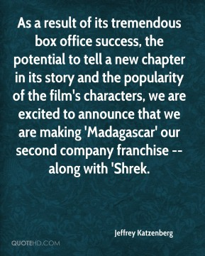 Jeffrey Katzenberg  - As a result of its tremendous box office success, the potential to tell a new chapter in its story and the popularity of the film's characters, we are excited to announce that we are making 'Madagascar' our second company franchise -- along with 'Shrek.