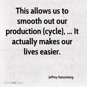 This allows us to smooth out our production (cycle), ... It actually makes our lives easier.