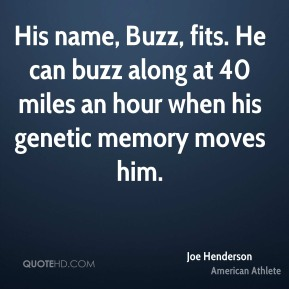 Joe Henderson - His name, Buzz, fits. He can buzz along at 40 miles an hour when his genetic memory moves him.