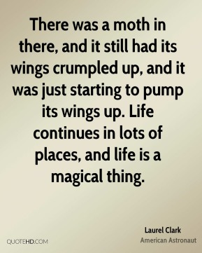 Laurel Clark - There was a moth in there, and it still had its wings crumpled up, and it was just starting to pump its wings up. Life continues in lots of places, and life is a magical thing.