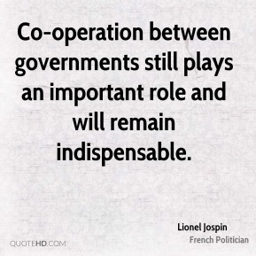 Co-operation between governments still plays an important role and will remain indispensable.