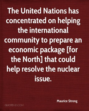 The United Nations has concentrated on helping the international community to prepare an economic package [for the North] that could help resolve the nuclear issue.