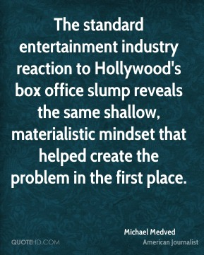 The standard entertainment industry reaction to Hollywood's box office slump reveals the same shallow, materialistic mindset that helped create the problem in the first place.