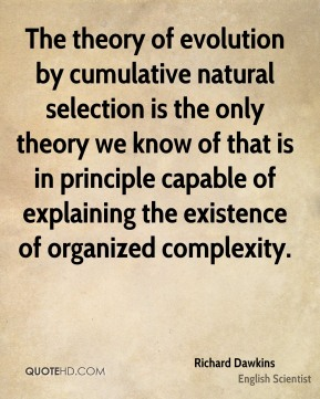 Richard Dawkins - The theory of evolution by cumulative natural selection is the only theory we know of that is in principle capable of explaining the existence of organized complexity.