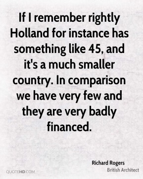 If I remember rightly Holland for instance has something like 45, and it's a much smaller country. In comparison we have very few and they are very badly financed.