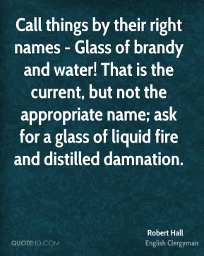 Call things by their right names - Glass of brandy and water! That is the current, but not the appropriate name; ask for a glass of liquid fire and distilled damnation.