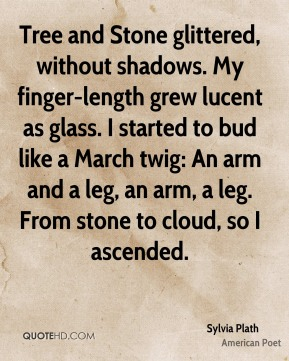 Sylvia Plath  - Tree and Stone glittered, without shadows. My finger-length grew lucent as glass. I started to bud like a March twig: An arm and a leg, an arm, a leg. From stone to cloud, so I ascended.