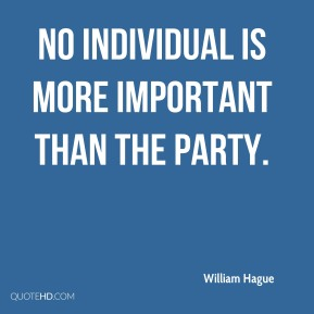 No individual is more important than the party.