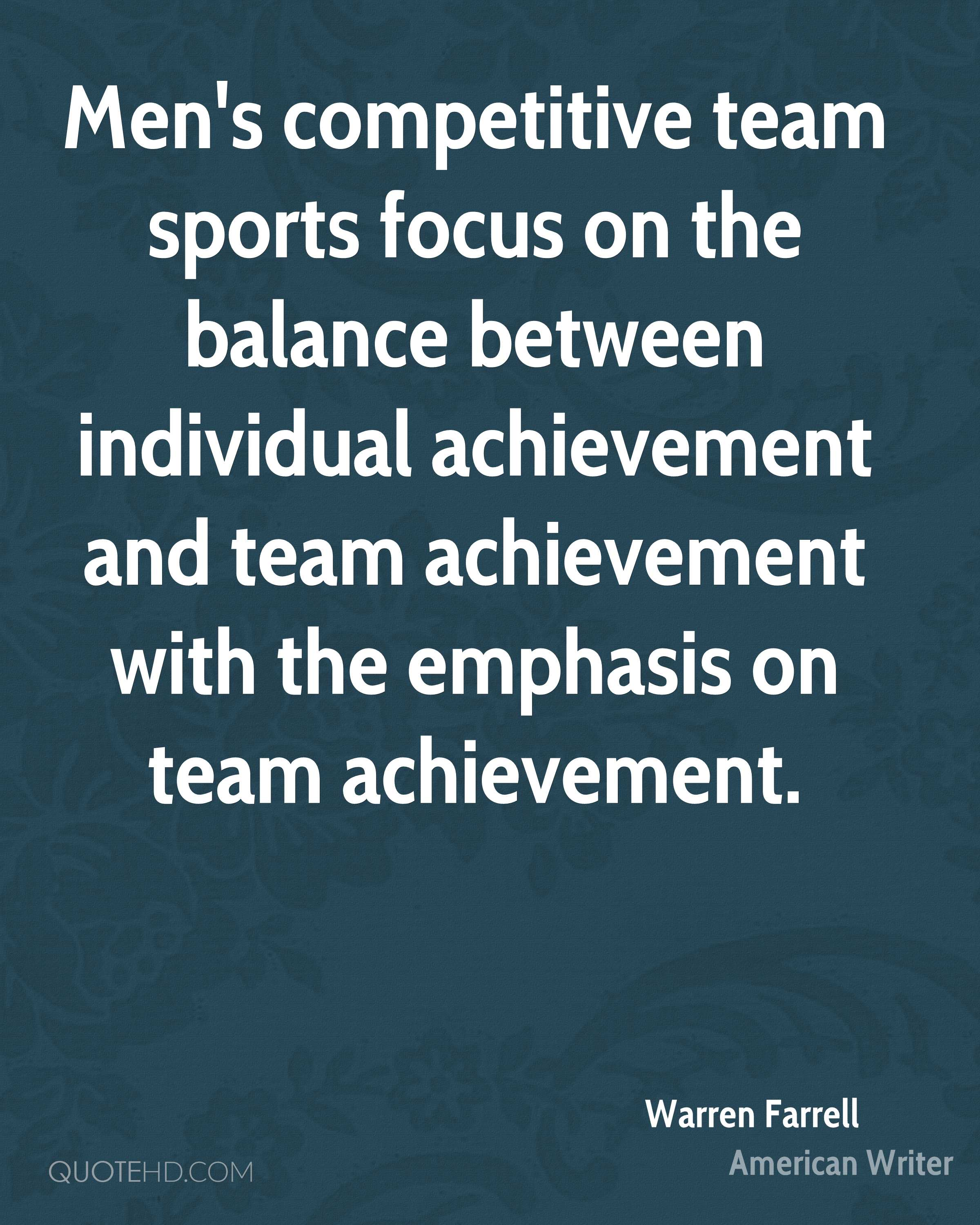 Mens Competitive Team Sports Focus On The Balance Between Individual Achievement And With