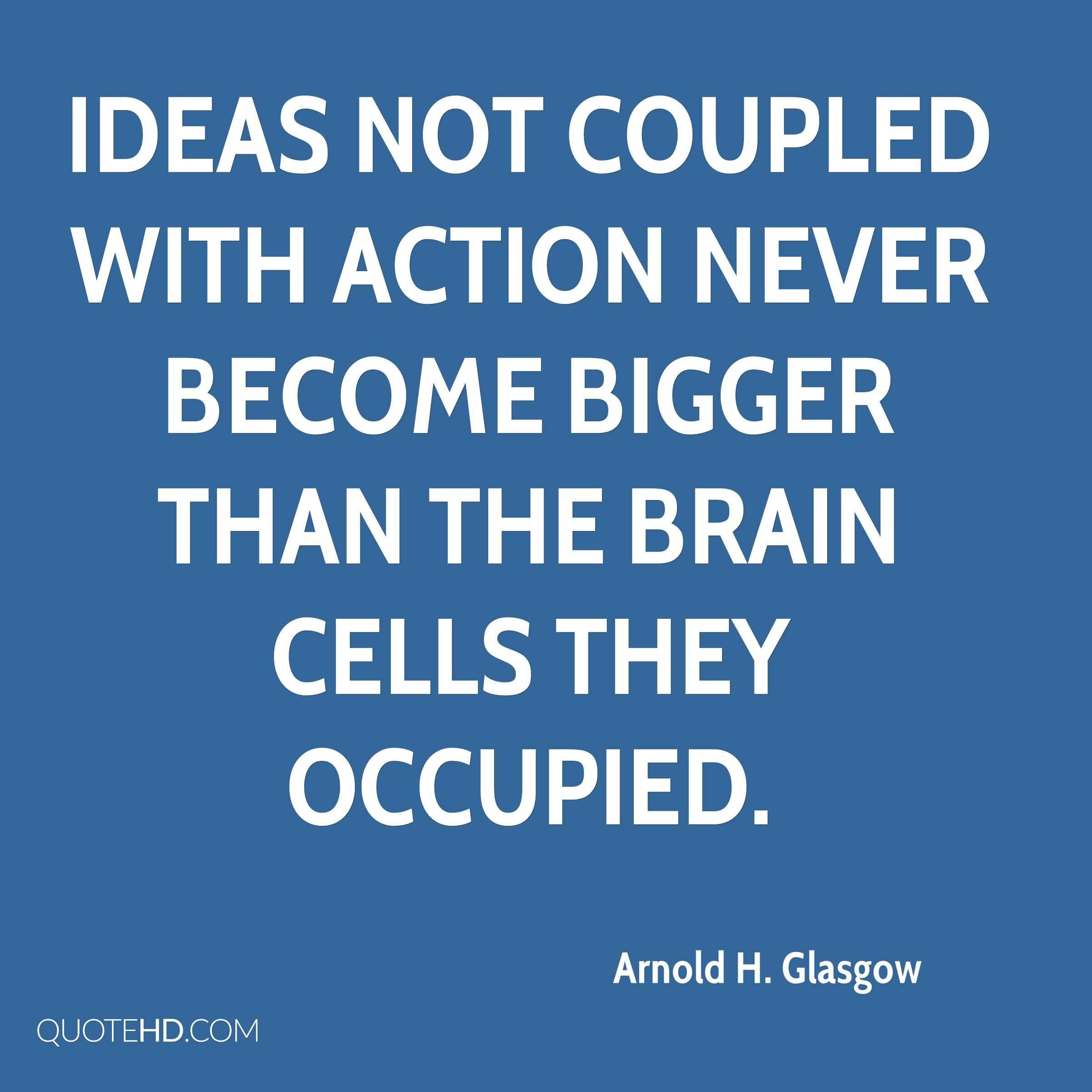 Ideas not coupled with action never become bigger than the brain cells they occupied.