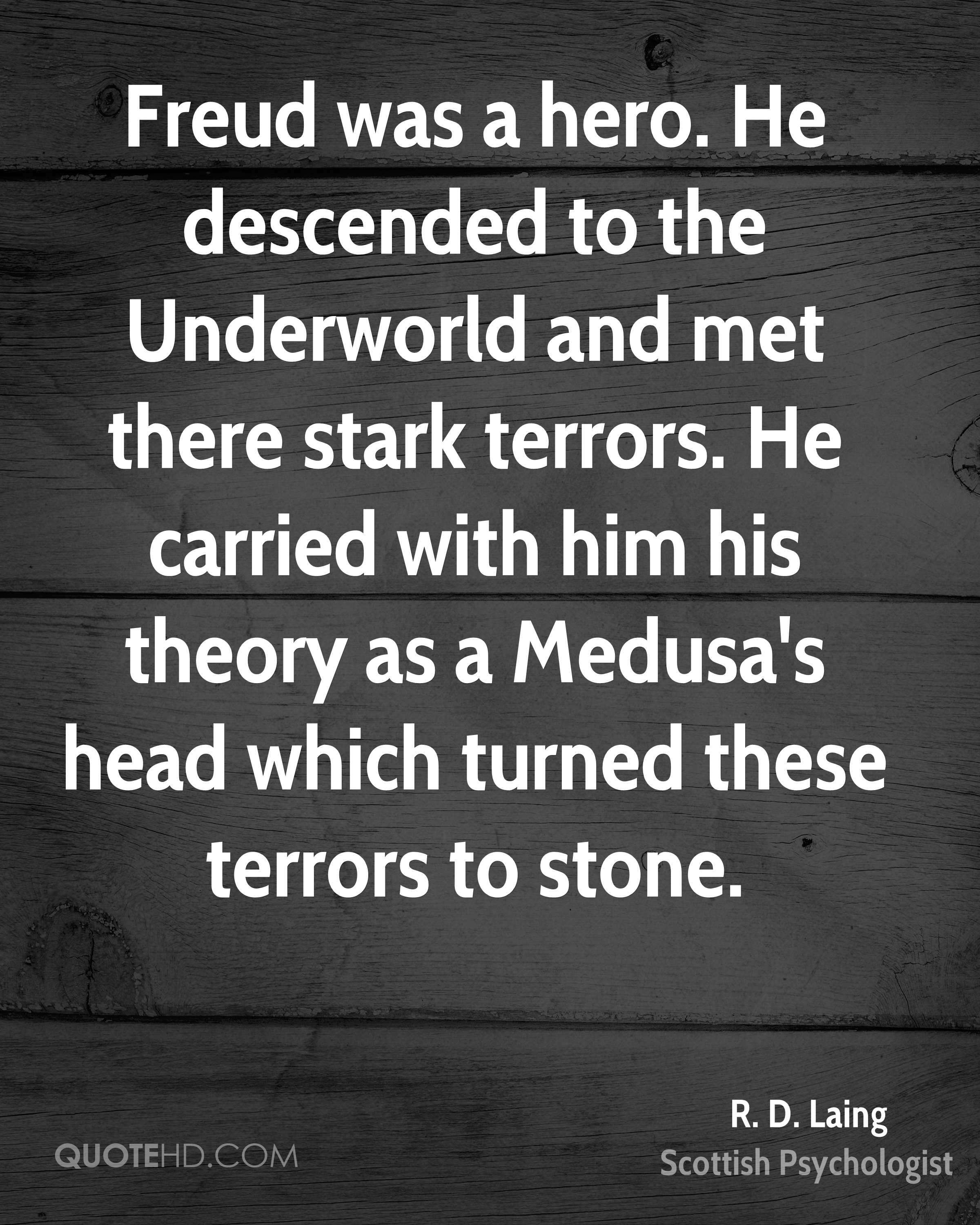 Freud was a hero. He descended to the Underworld and met there stark terrors. He carried with him his theory as a Medusa's head which turned these terrors to stone.