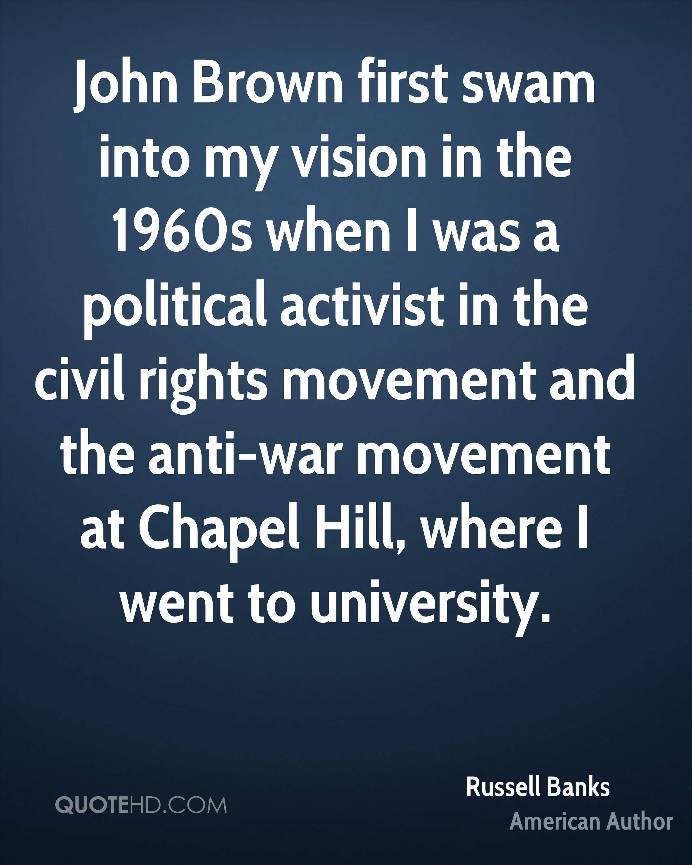John Brown first swam into my vision in the 1960s when I was a political activist in the civil rights movement and the anti-war movement at Chapel Hill, where I went to university.