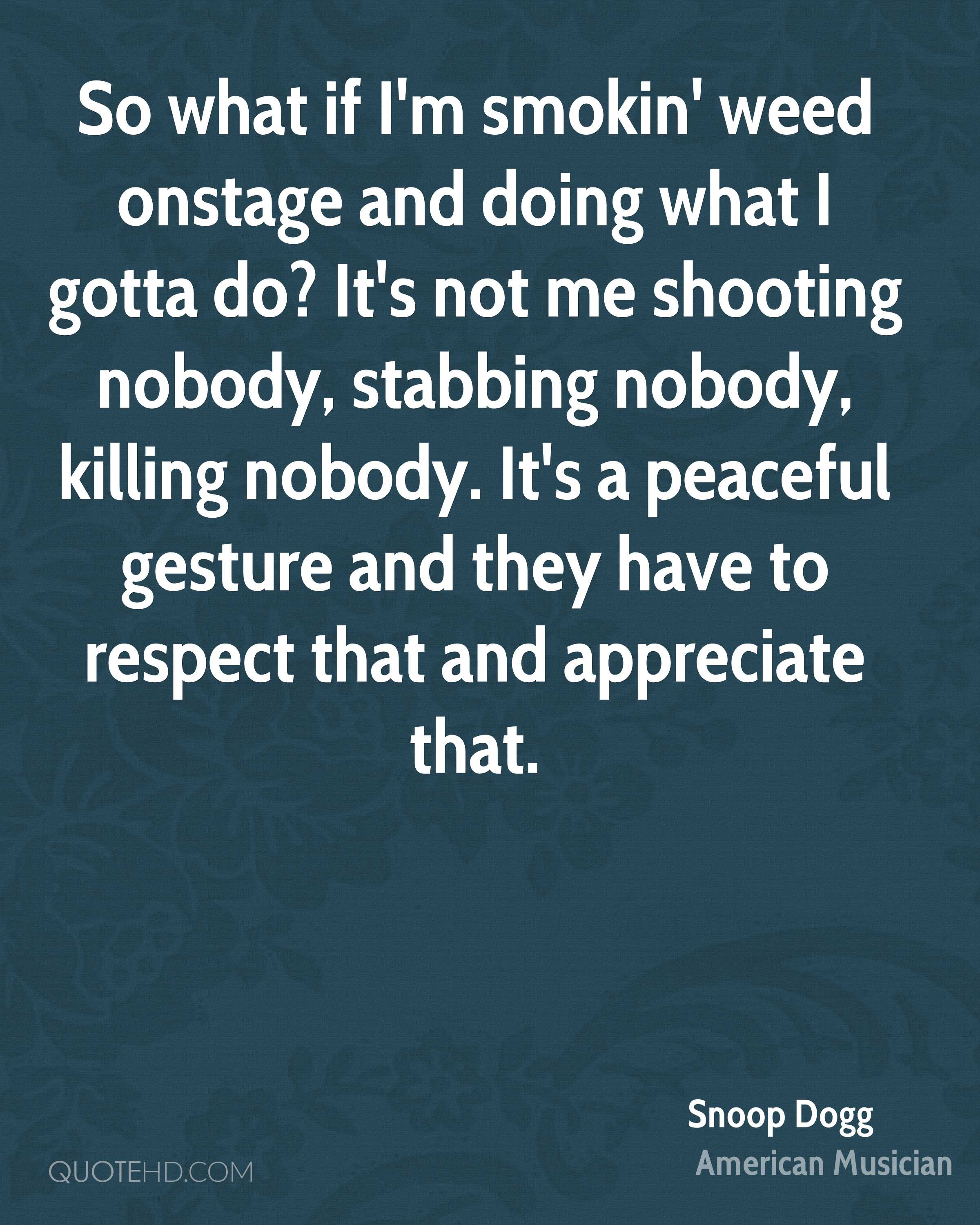 So what if I'm smokin' weed onstage and doing what I gotta do? It's not me shooting nobody, stabbing nobody, killing nobody. It's a peaceful gesture and they have to respect that and appreciate that.