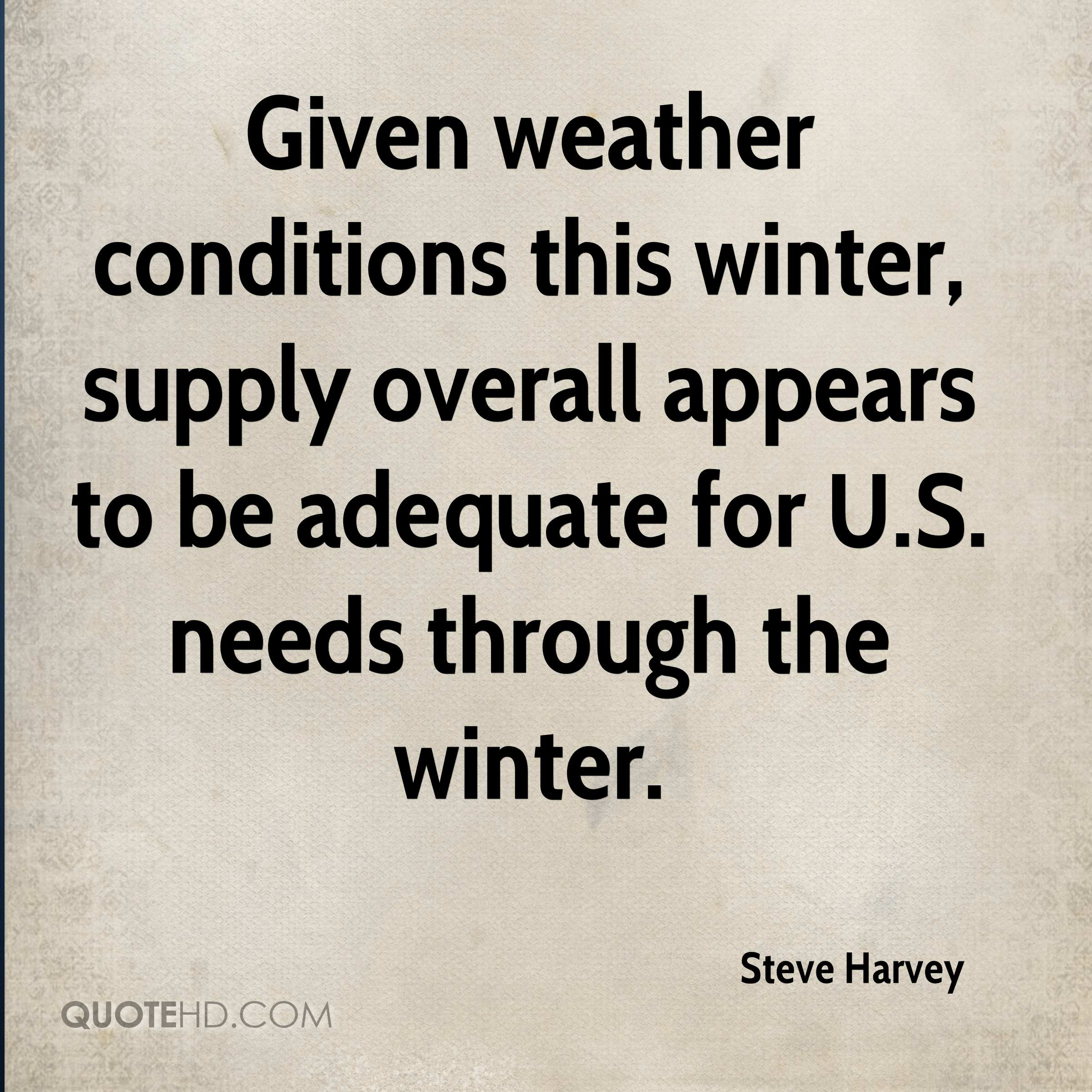 Given weather conditions this winter, supply overall appears to be adequate for U.S. needs through the winter.