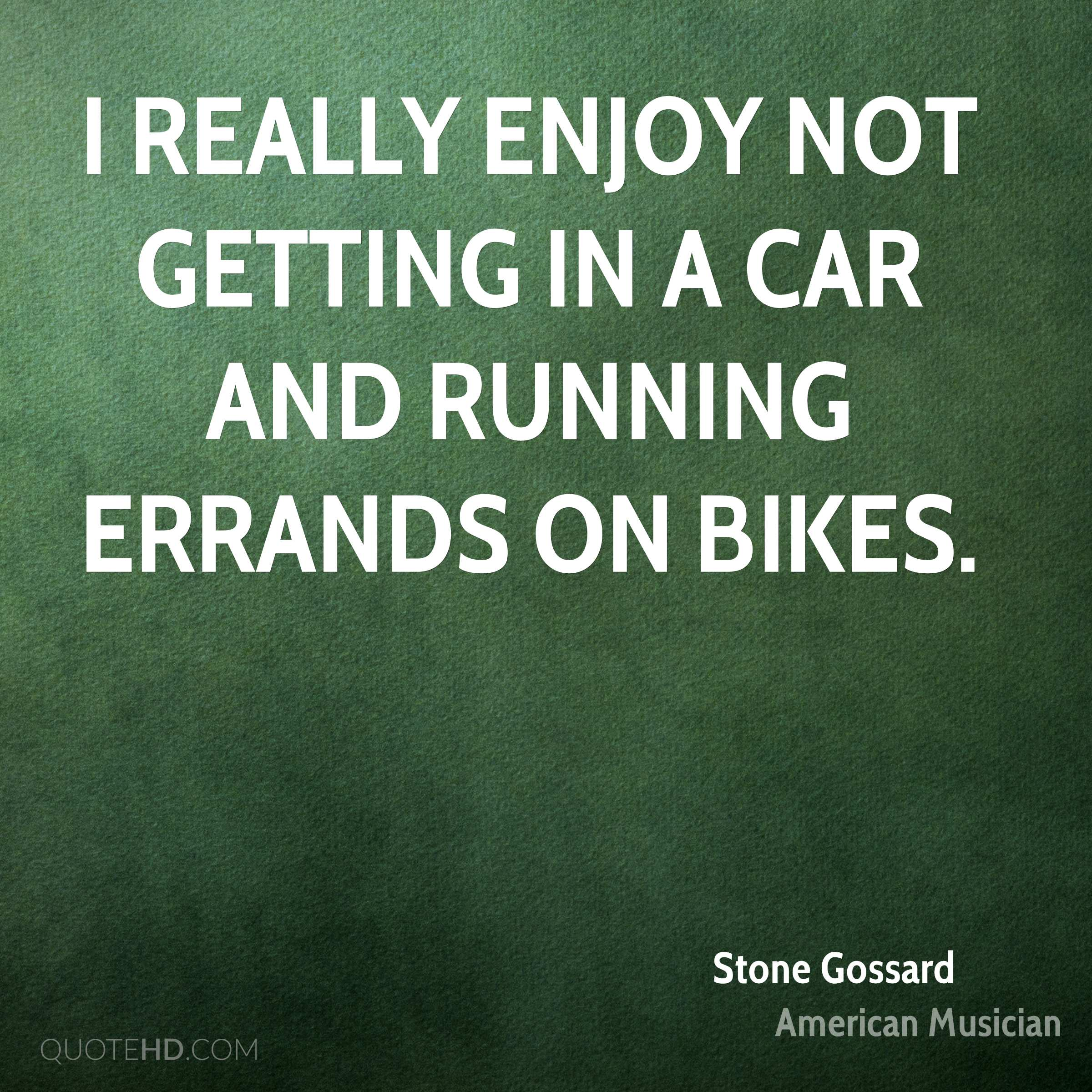 I really enjoy not getting in a car and running errands on bikes.