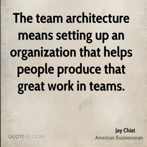 Jay Chiat - The team architecture means setting up an organization that helps people produce that great work in teams.
