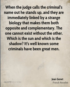 When the judge calls the criminal's name out he stands up, and they are immediately linked by a strange biology that makes them both opposite and complementary. The one cannot exist without the other. Which is the sun and which is the shadow? It's well known some criminals have been great men.
