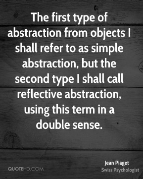 The first type of abstraction from objects I shall refer to as simple abstraction, but the second type I shall call reflective abstraction, using this term in a double sense.