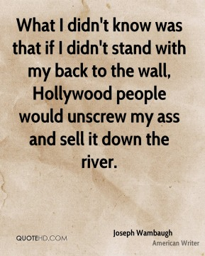 What I didn't know was that if I didn't stand with my back to the wall, Hollywood people would unscrew my ass and sell it down the river.