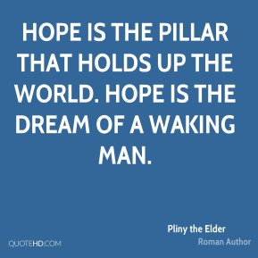Hope is the pillar that holds up the world. Hope is the dream of a waking man.
