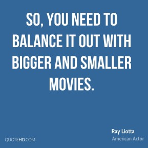 So, you need to balance it out with bigger and smaller movies.
